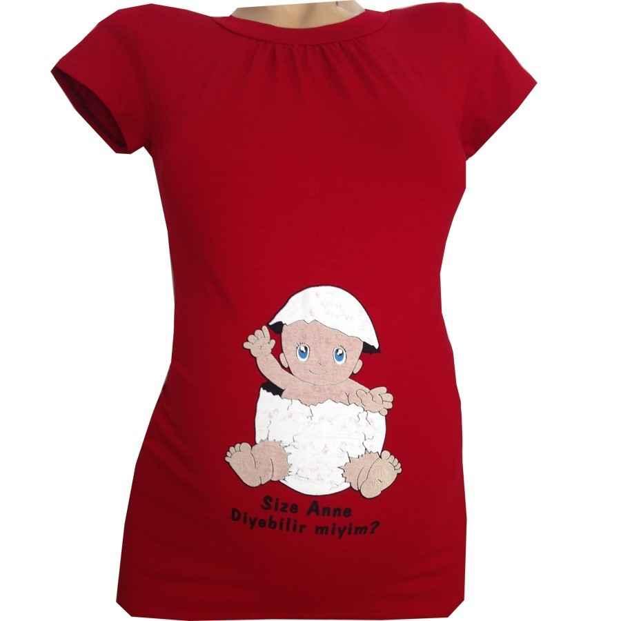 6d5d3f70124e7 Annem Hamile Çatlak Yumurta Espirili Body Kırmızı | İlke Bebe