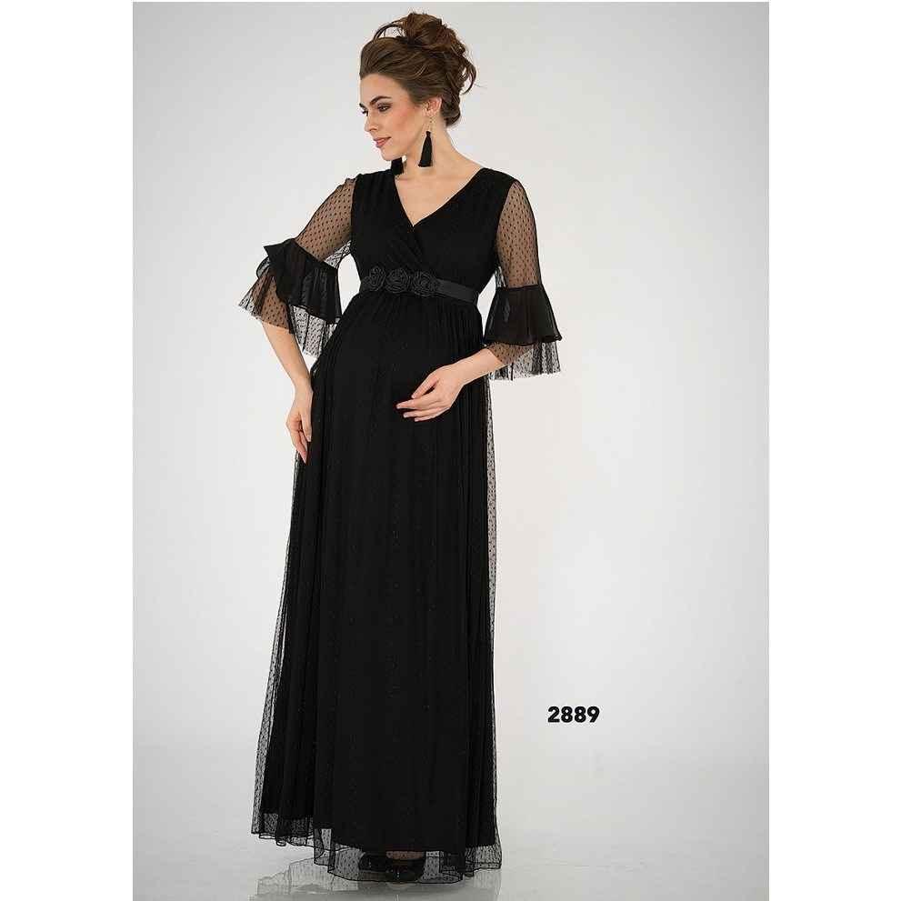 5c1c96d01e0b3 Entarim Tül Hamile Abiye Elbise Siyah Fiyatı | İlke Bebe