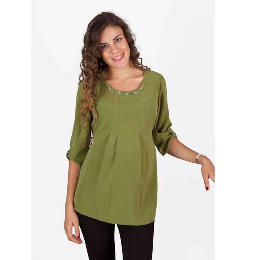 ab1a9d0341815 Hamile Giyim Şifon Kapri Kol Bluz Yeşil | İlke Bebe